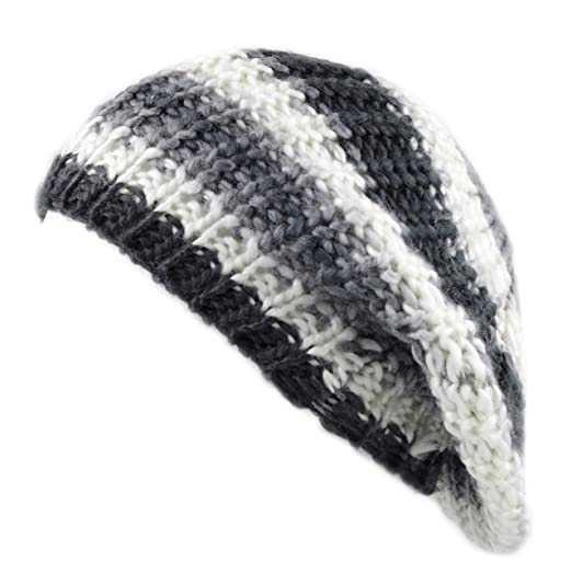 df2b85fe8aede THE HAT DEPOT 700HAT33 Rainbow Knit Tam Beret Hat (Black White) at ...