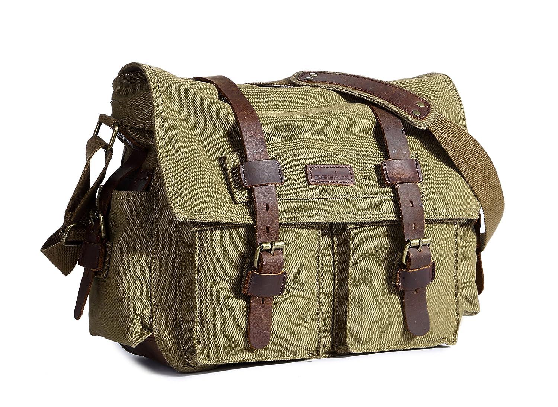 a3bacf0e4c40 Amazon.com  Beeaoo Canvas Messenger Bag