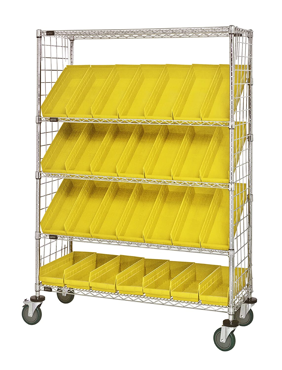 """B008I8AHHC Quantum Storage Systems WRCSL5-63-1848EP-104YL 5-Tier Slanted Wire Shelving Suture Cart with 28 QSB104 Yellow Economy Shelf Bins, Enclosed, 2 Horizontal and 3 Slanted Shelves, Chrome Finish, 69"""" Height x 48"""" Width x 18"""" Depth 9128x59OpML._SL150"""