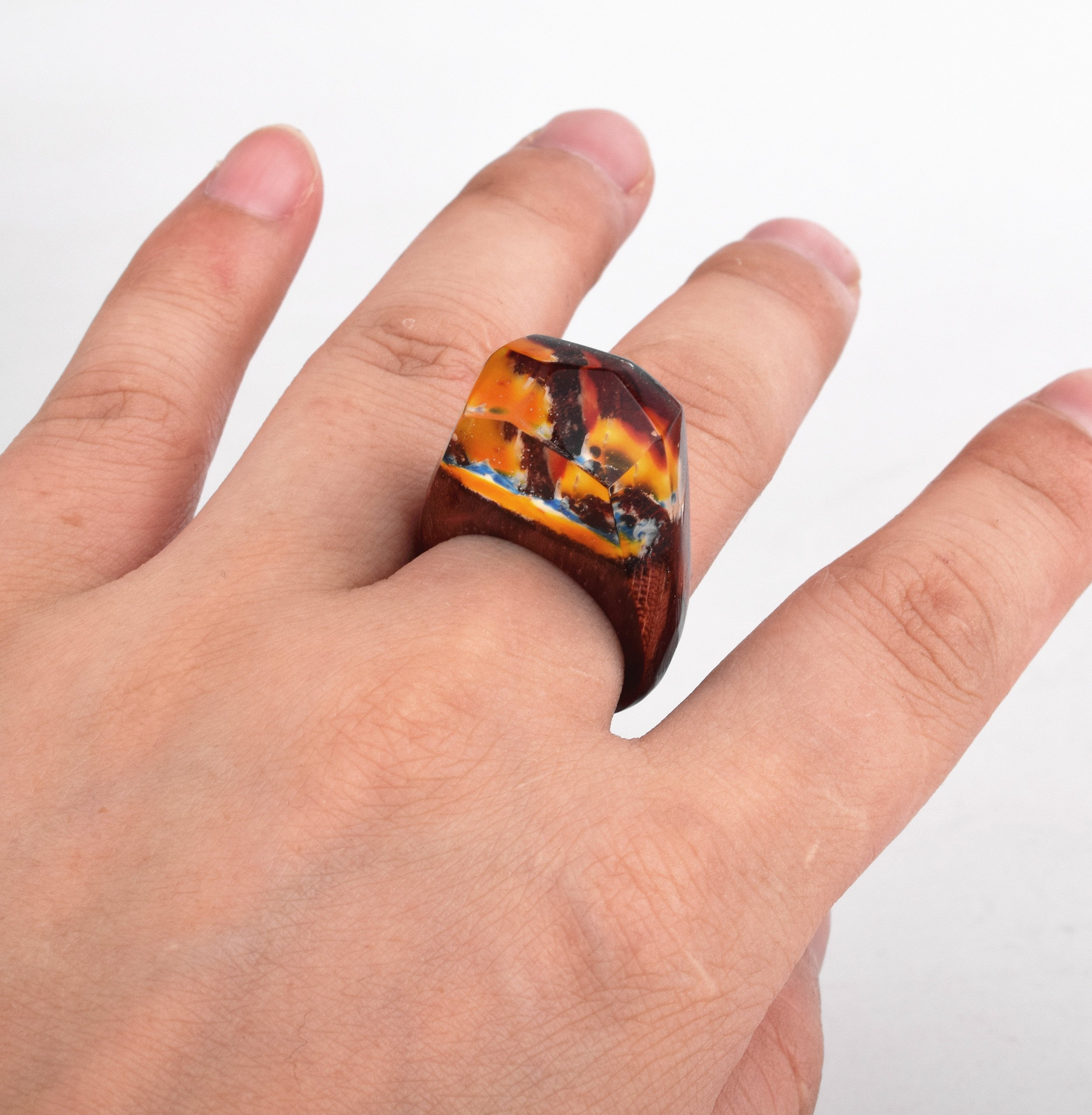 Heyou Love Handmade Wood Resin Ring With Volcano Scenery Landscape Inside Jewelry by Heyou Love (Image #7)