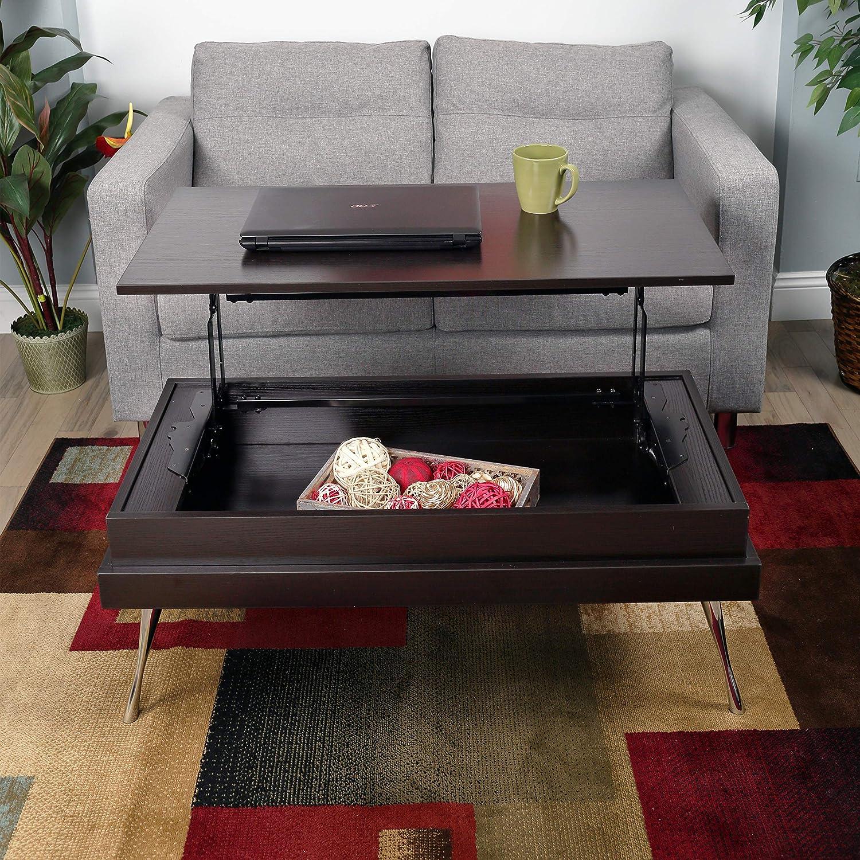 Amazon Com Koryo Espresso Lift Top Rectangular Coffee Table Furniture Decor [ 1500 x 1500 Pixel ]