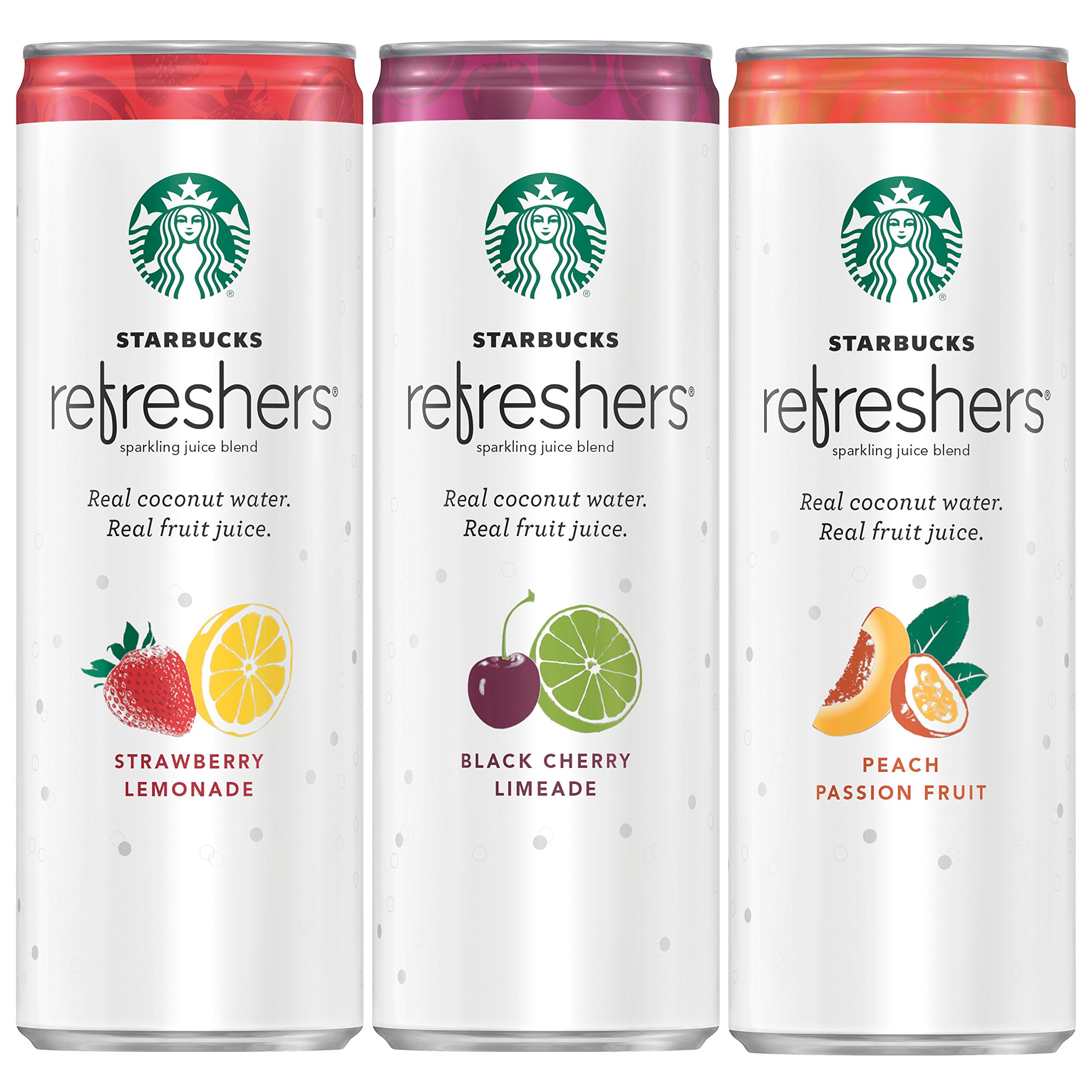 Starbucks Refreshers, 3 Flavor Variety Pack with Coconut Water, 12 Ounce Cans, 12 Pack (Packaging May Vary)