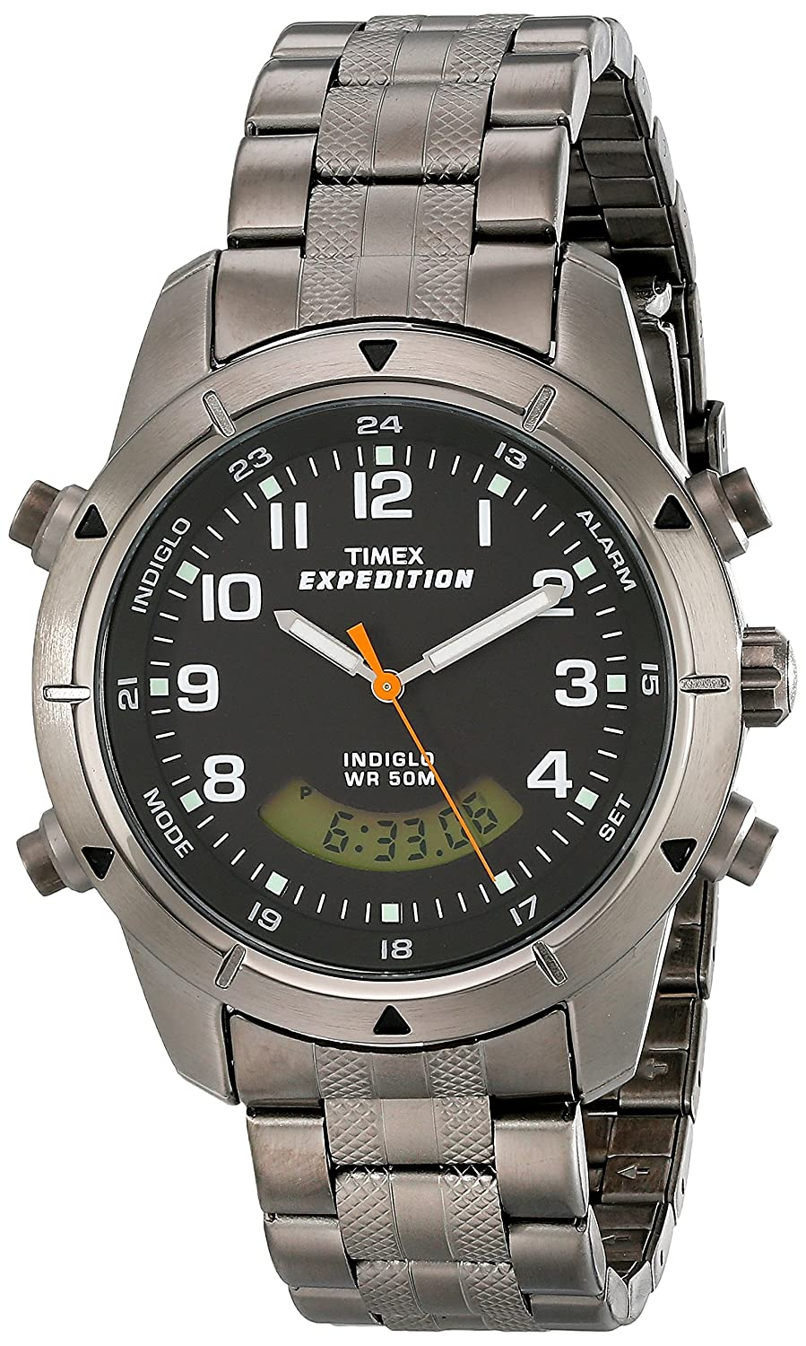 timex expedition men s t49826su quartz watch black dial timex expedition men s t49826su quartz watch black dial analogue digital display and silver stainless steel bracelet timex amazon co uk watches