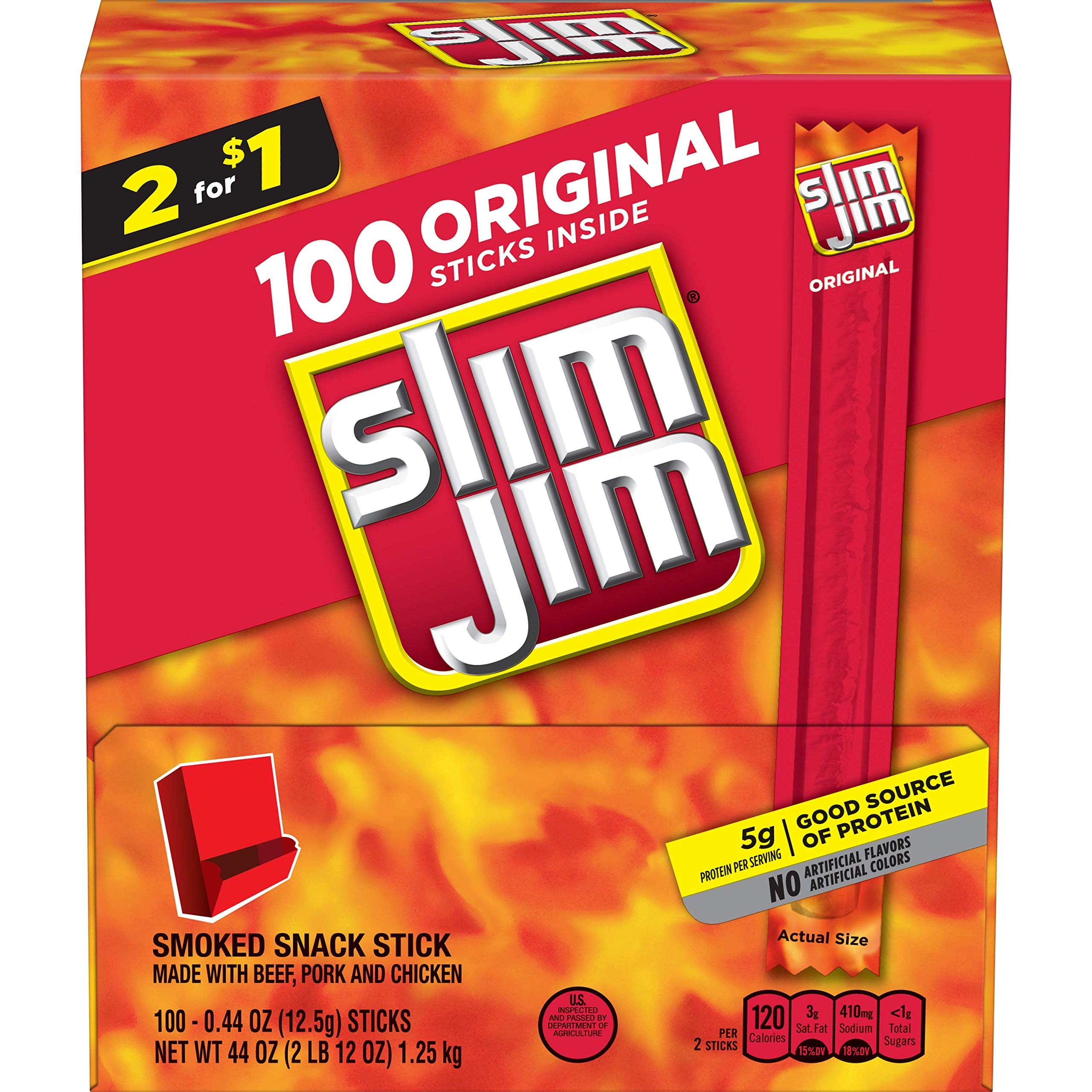 Slim Jim Snack-Sized Smoked Meat Stick, Original Flavor, Keto Friendly, .44 Oz. (Pack of 100)