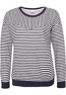 6a89c708a972 Sublevel Damen Sweatshirt mit Streifen   Leichter Pullover mit  Fledermausärmeln in Grau   Blau