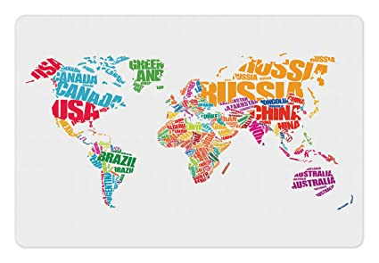 Amazon ambesonne world map pet mat for food and water world ambesonne world map pet mat for food and water world map with names of the gumiabroncs Image collections