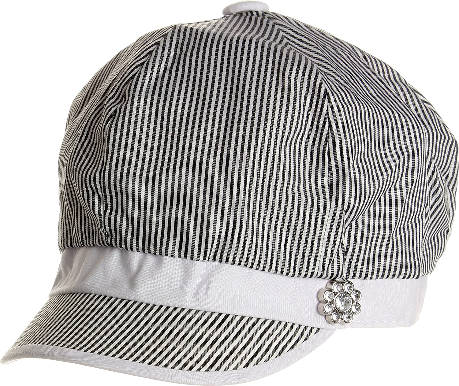 8b9892b631c LL Womens Cabbie Hat Spring Summer Black and White Thin Stripes Rhinestone  Flower at Amazon Women s Clothing store  Newsboy Caps