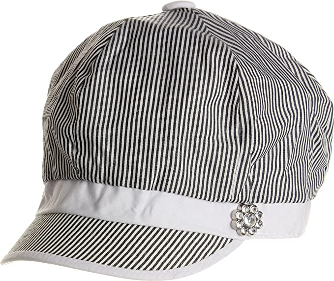 32b30b53d54 Image Unavailable. Image not available for. Color  LL Womens Cabbie Hat  Spring Summer Black and White Thin Stripes Rhinestone Flower