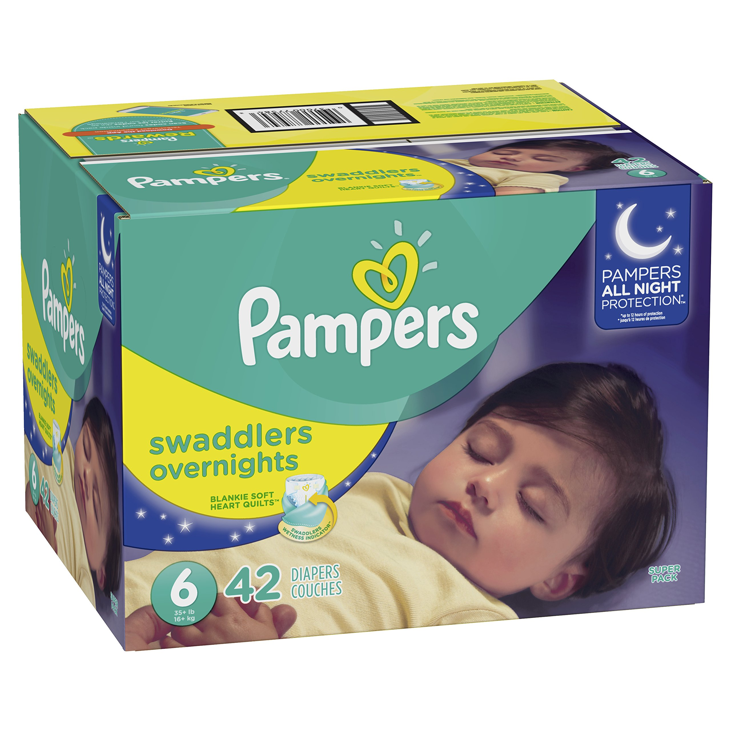 Pampers Swaddlers  Overnights Disposable Diapers Size 6, 42 Count, SUPER