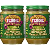 """Teddie """"UNSALTED"""" Super Chunky Old Fashioned Peanut Butter (16 oz Jars) 2 Pack"""