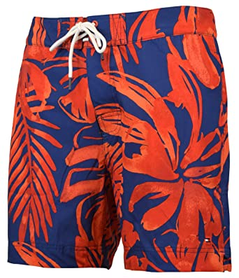 45380e58f3490 Tommy Hilfiger Men's Floral Board Shorts Swim Trunks - S - Red/Navy