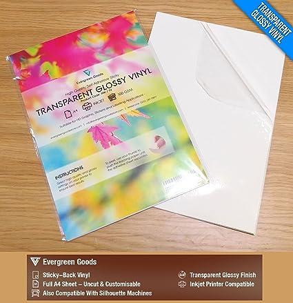 Amazon Com 20 Sheets A4 Clear Transparent Vinyl Glossy