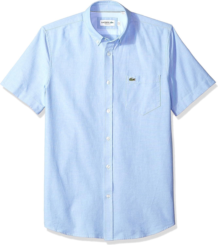 Lacoste Mens Short Sleeve Oxford Button Down Collar Regular Fit Woven Shirt Button Down Shirt
