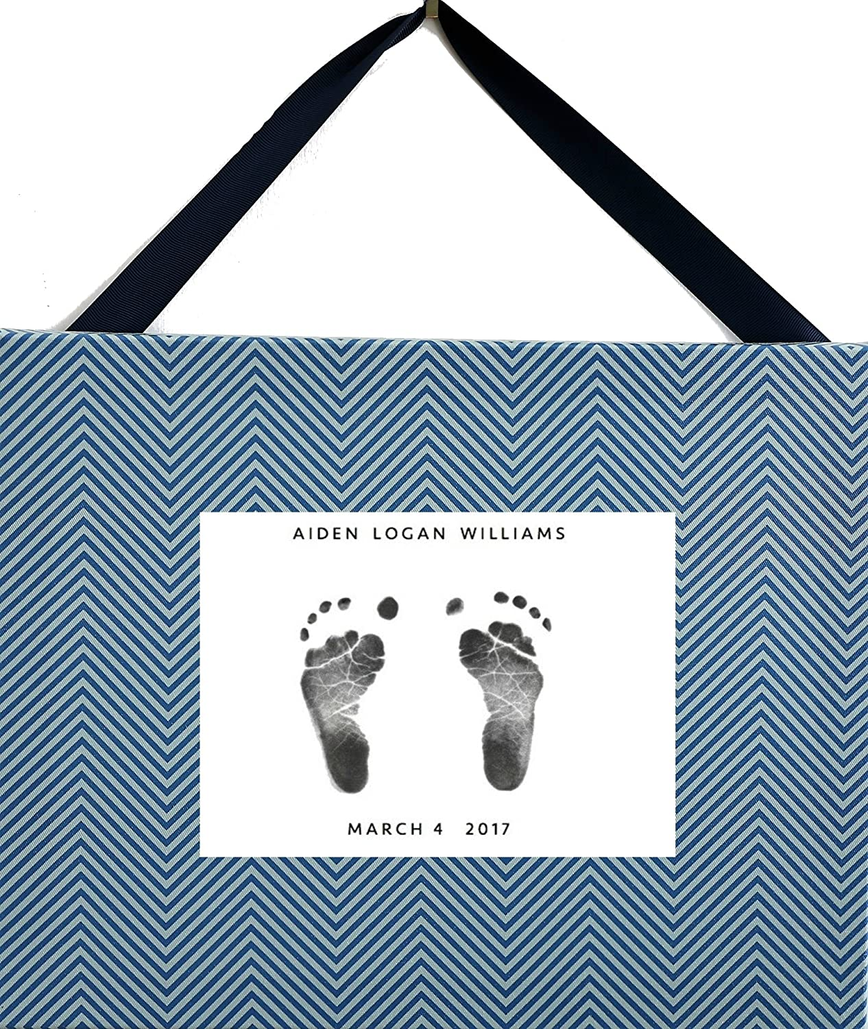 Stamp My Feet Baby Footprint Kit and Canvas Baby Shower Gift for Parents, Grandparents and The Nursery , Blue and Steel Grey Chevron