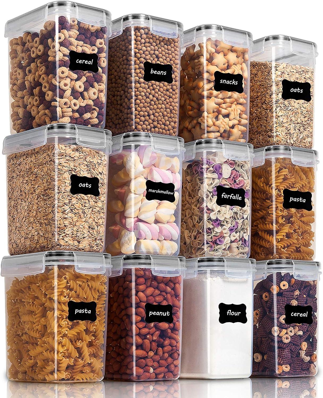 Vtopmart 1.6L Recipientes para Cereales Almacenamiento de Alimentos, Jarras de Almacenamiento de Plástico con Tapa Hermética Sin BPA,Juego de 12 + 24 Etiquetas, para harina,café (Negro)