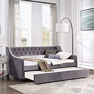 Daybed with Trundle Upholstered Tufted Sofa Bed Twin Size Daybed for Bedroom Living Room, Dark Gray (Not Include Mattress)