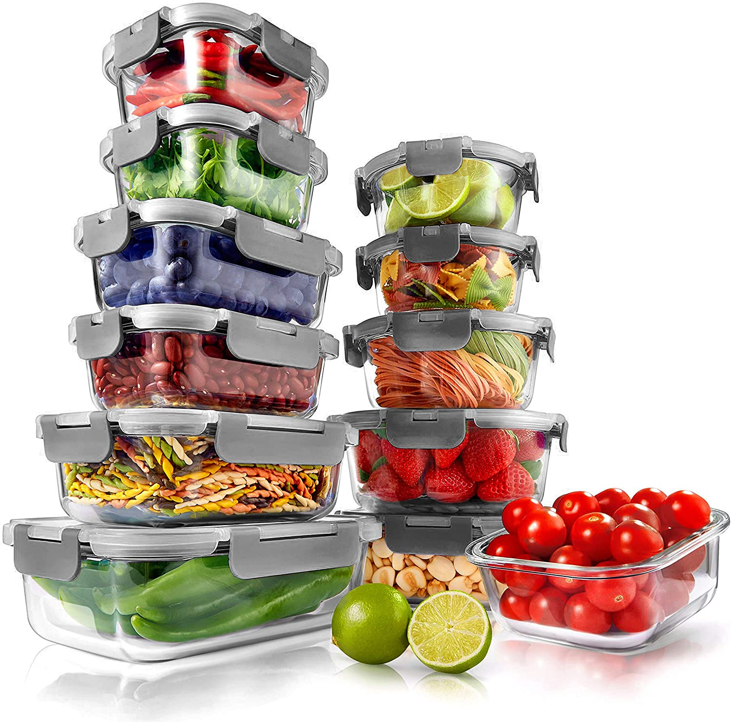 Superior Glass Food Storage Containers - 24-Piece Stackable Glass Meal-prep Containers w/ Newly Innovated Hinged BPA-Free 100% Leakproof Locking Lids - Freezer-to-Oven-Safe - NutriChef NCGLGY (Gray)