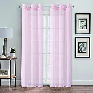 Dainty Home Au Natural Canvas Mesh Semi-Sheer Linen Blend Grommet Window Panel Pair, 38