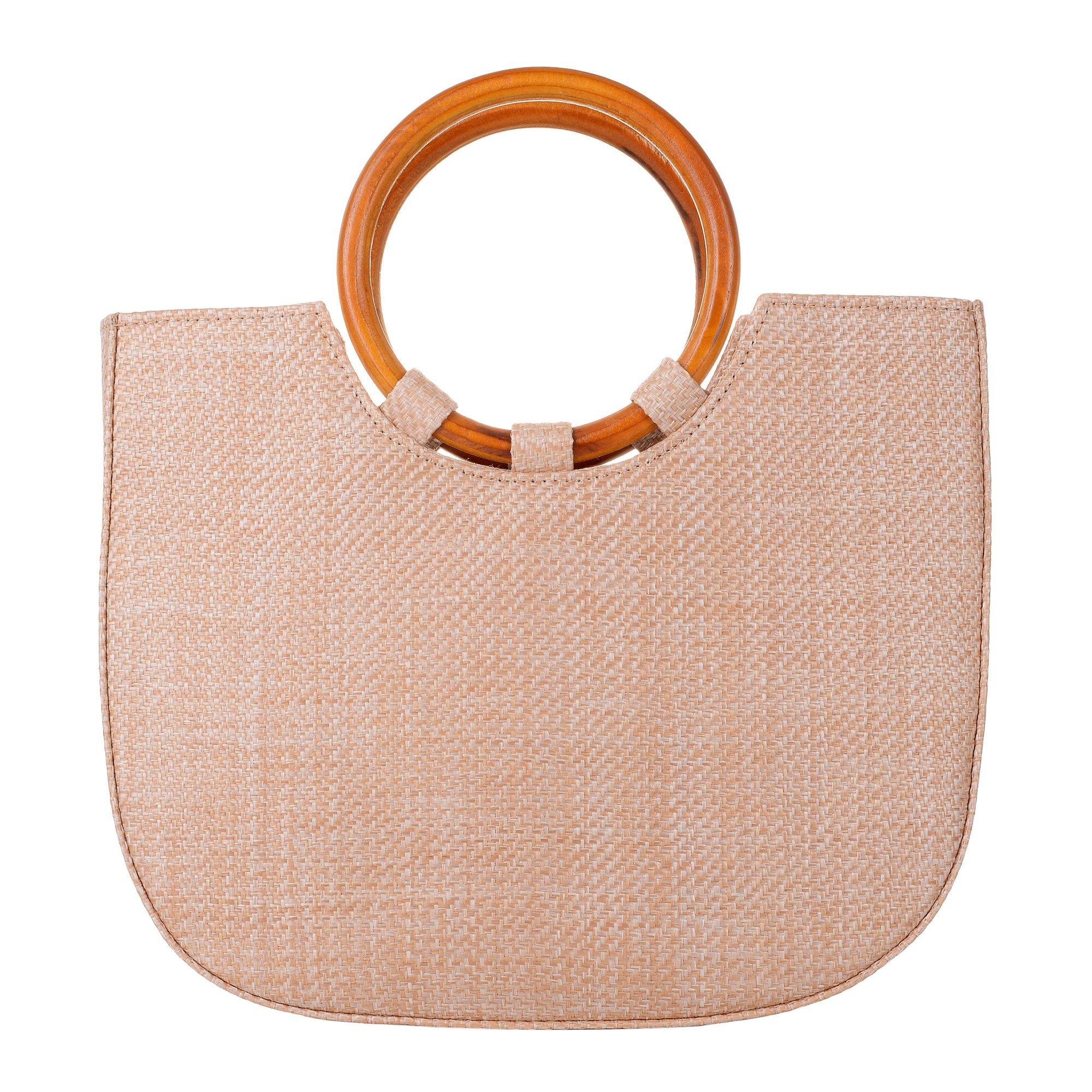 QZUnique Womens Summer Beach Straw Handbag Casual Satchel Straw Bag Top Handle Tote Shoulder Handbag