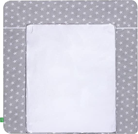 75x80 cm LULANDO Changing Mat with 2 Removable Waterproof Covers 75 x 80 cm or 75 x 85 cm,76 x 76 cm  100/% Cotton Frotte Grey - Blue Stars
