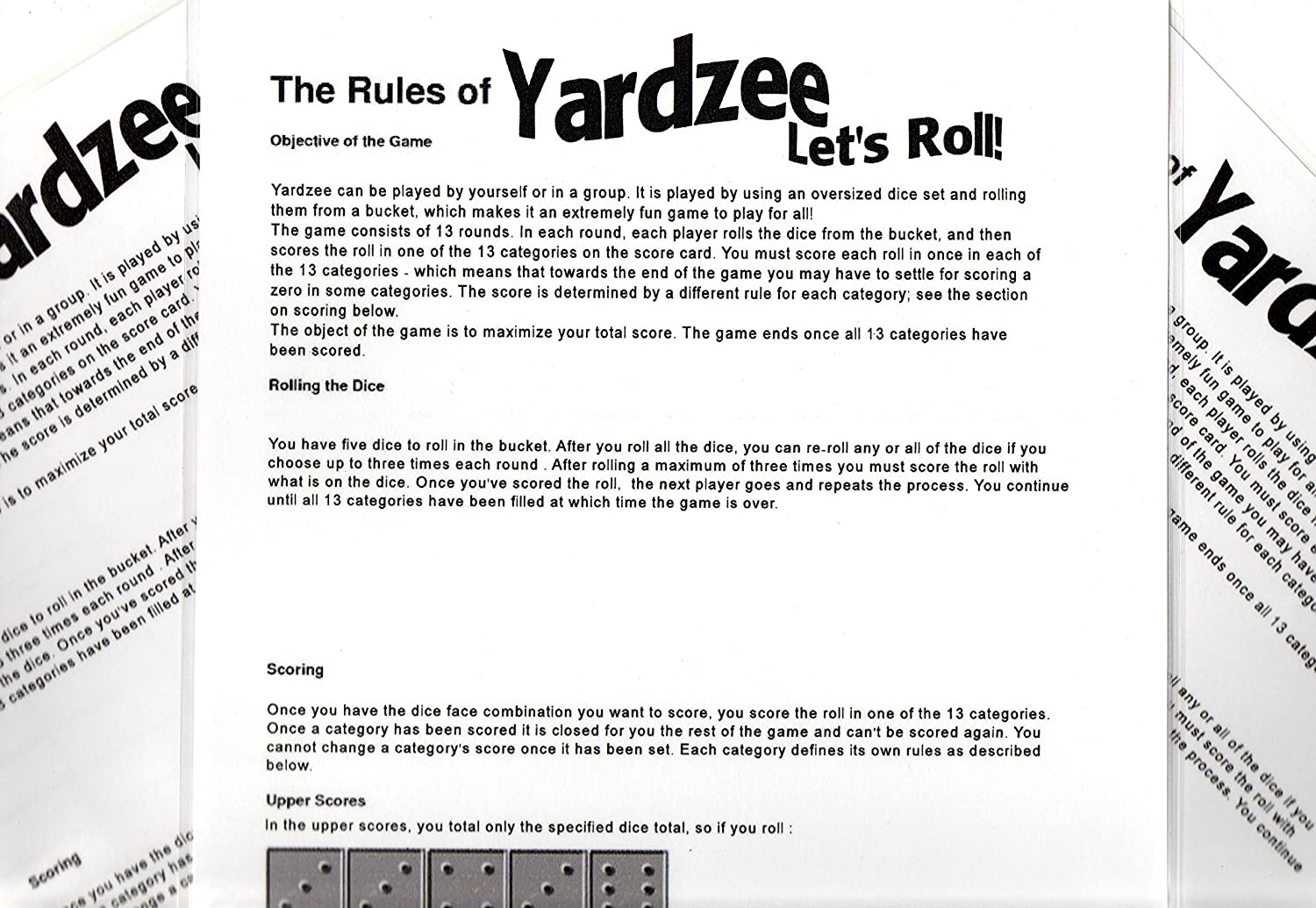 Impertinent image intended for free printable yardzee rules