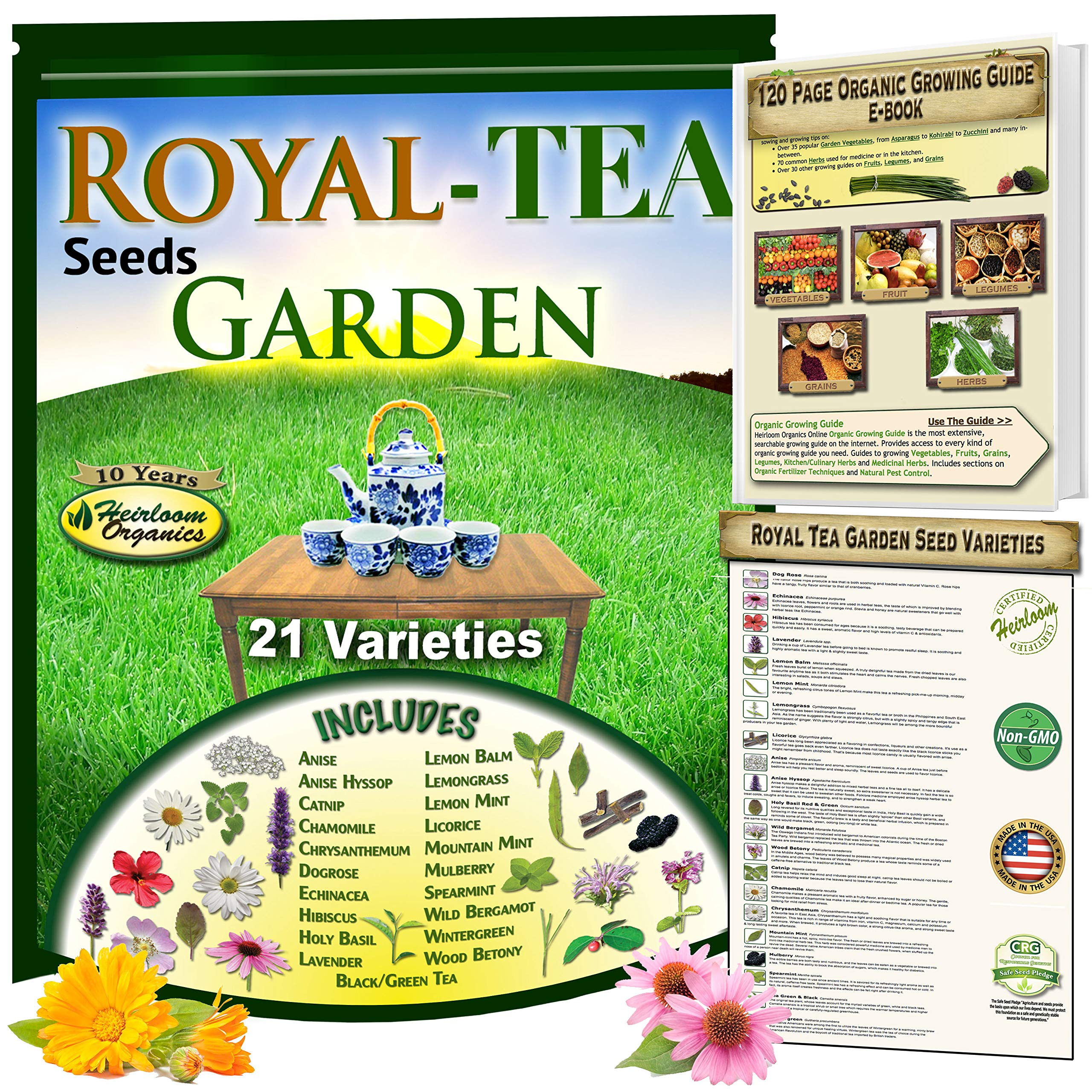 Royal Tea Seeds Garden: 21 Heirloom Collection of Herbal Tea Varieties, Including: Anise, Holy Basil, Catnip, Chamomile, Lemon Balm, 3 Types of Mint, Lavender, Licorice, Hibiscus, Wintergreen & More by Heirloom Organics