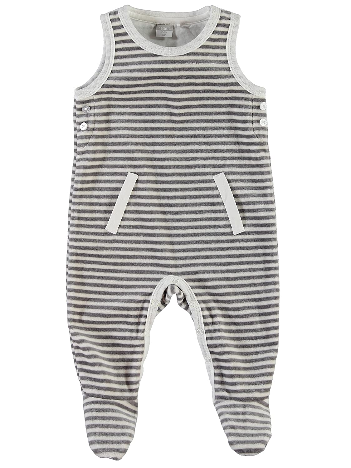 Name It Unisex Newborn Strampler NITUXO NB VEL SUIT WF 515 cloud dancer (Ringel) Gr. 68 13118714