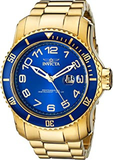 Invicta Mens 15347 Pro Diver Blue and Yellow Gold-Tone Stainless Steel Watch