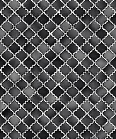 Vlies Tapete Stein Keramik Mosaik Fliesen Florentiner Optik Schwarz - Florentiner fliesen rot