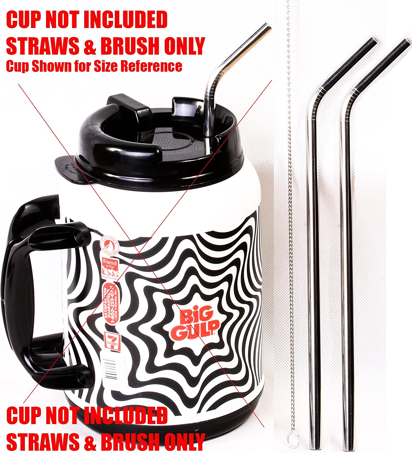 "2 Big Gulp 11.5"" JUMBO Stainless Steel Straw for 64 oz LONG Drinking Wide Insulated Whirley Travel Mug 7-11 Truck Stop Cup"