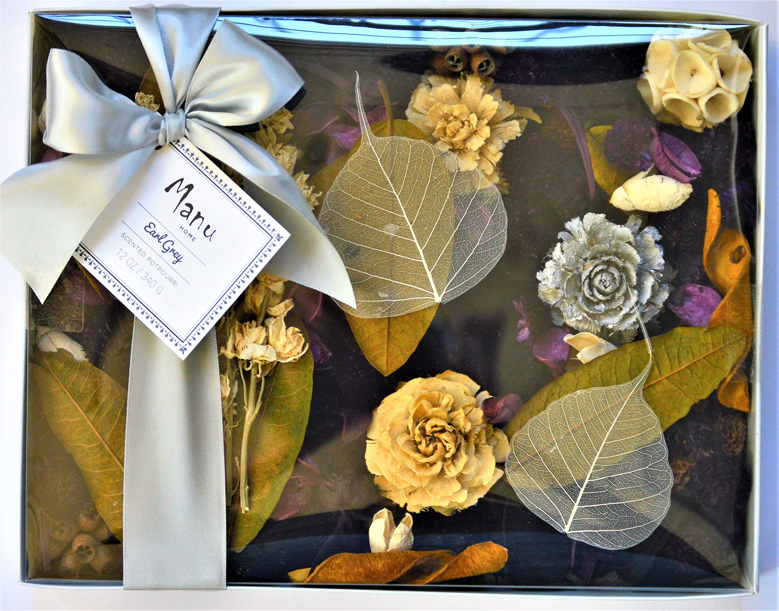 Manu Home New Earl Grey Potpourri~A Refreshing Blend of Fresh Bergamot & Black Tea Leaves Blended with Notes of Amber & Jasmine. Soothing Aromatherapy Relaxation Scent~May Help Relieve Stress~