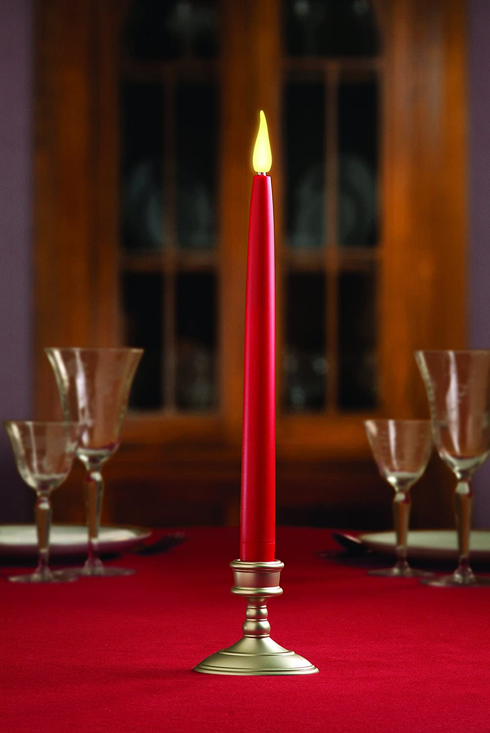 12-Inch Xodus Innovations FPC1468 Taper LED Flameless Battery Operated Candle with 6 Hour Timer Red