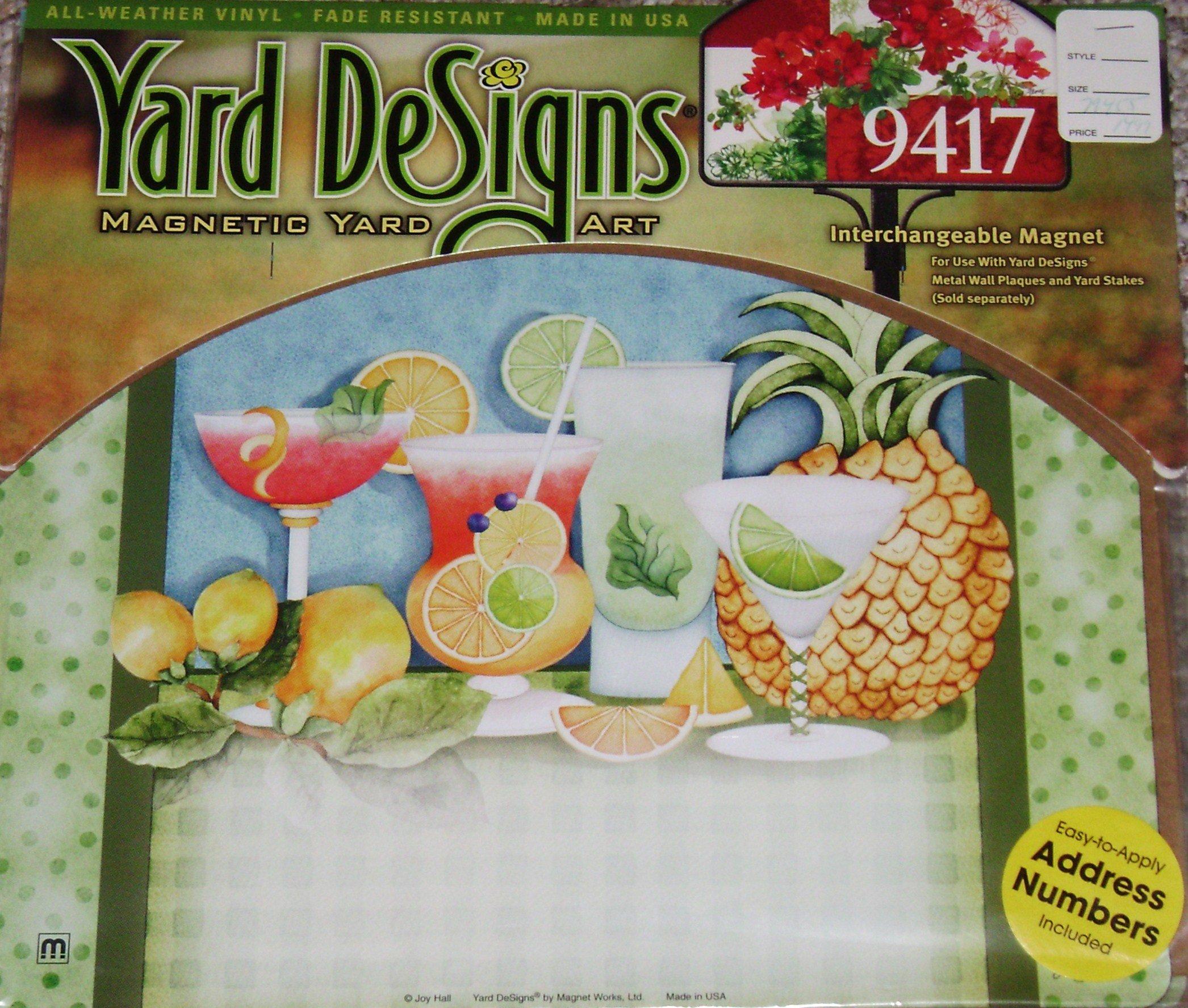 Summer Cocktails Party Drinks Magnetic Yard DeSign & Address Marker