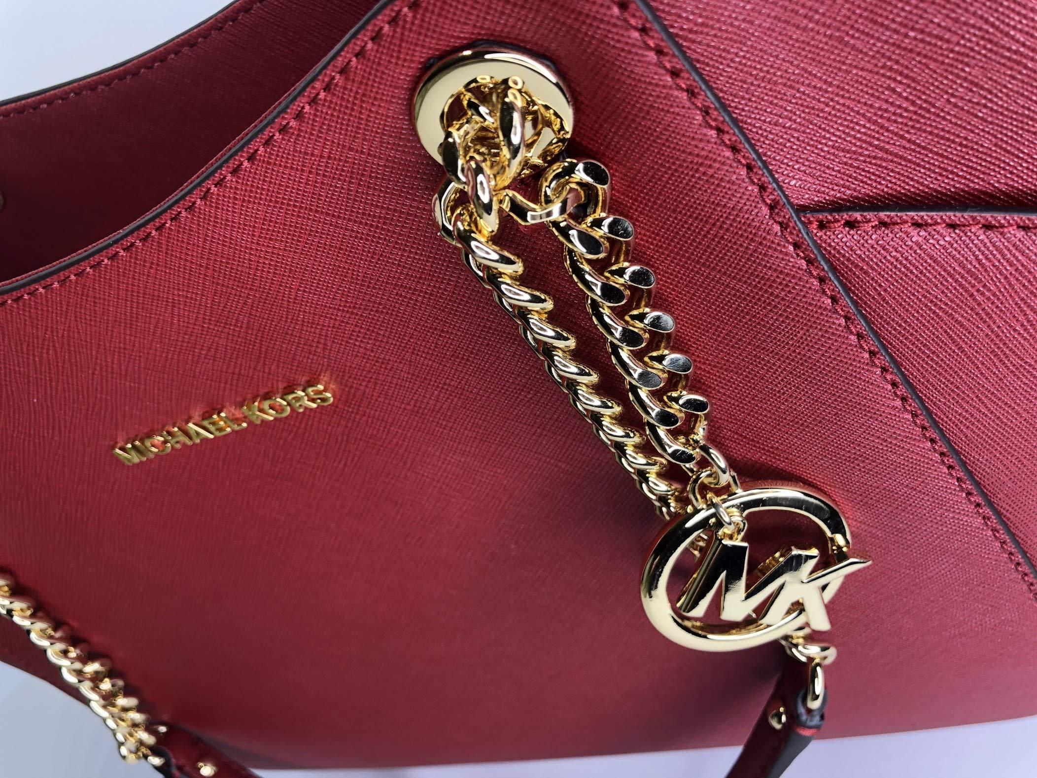 MICHAEL Michael Kors Jet Set Travel Large Chain Shoulder Tote bundled with Large Flat MF Phone Case Wallet Wristlet (Scarlet) by Michael Kors (Image #7)