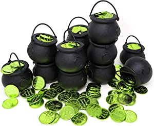 4E's Novelty 12 Pot of Gold with 144 Shamrock Good Luck Coins St Patricks Day Cauldron Candy Kettles Cups Bulk Party Table Decorations, Kettle Candies Holder St. Patrick's Day Irish Accessories