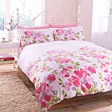 GARDEN FLOWER PINK DUVET COVER WITH PILLOW CASE QUILT COVER BEDDING SET ALL SIZES (king)