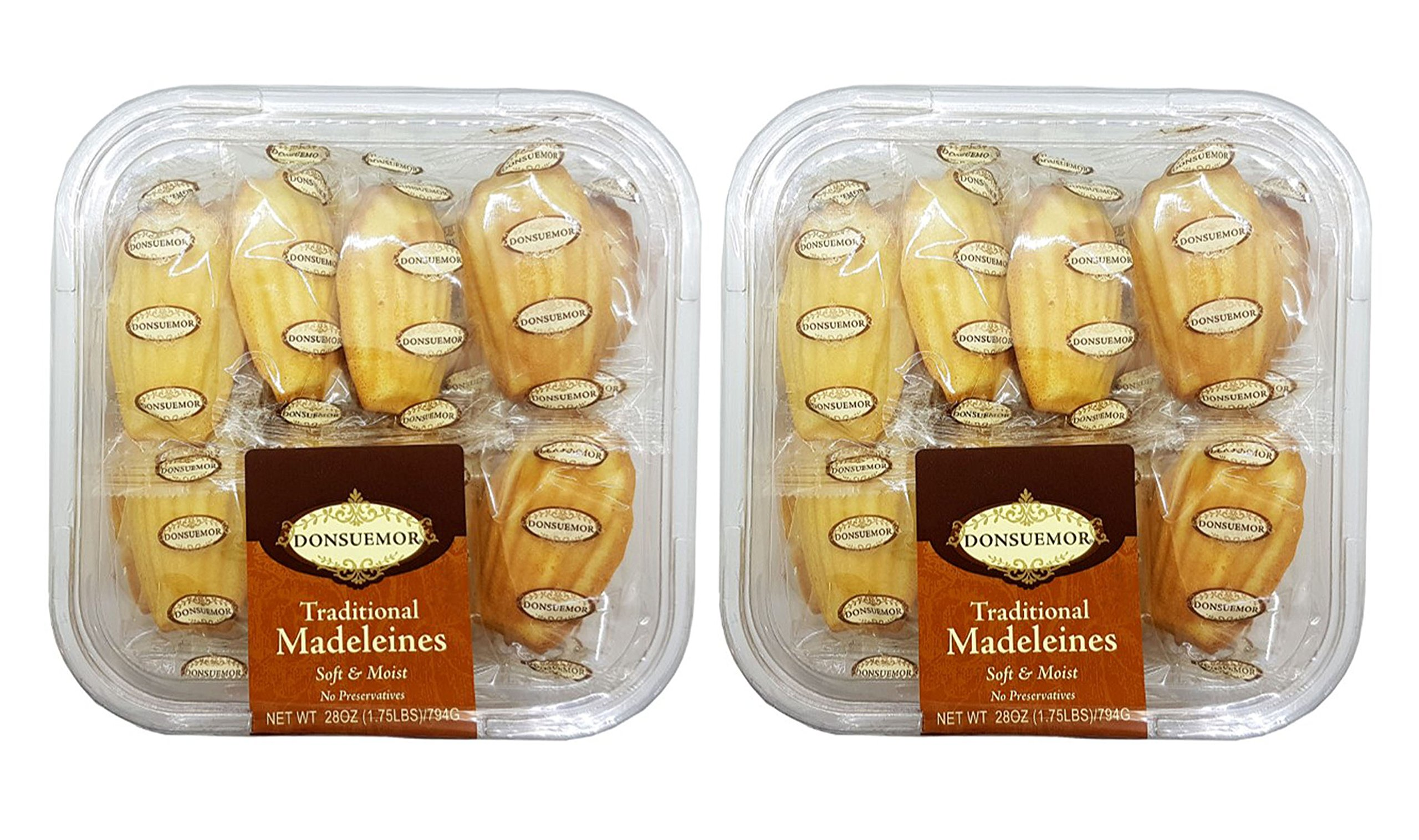 Donsuemor Traditional French Madeleines Individually Wrapped - 28 Oz. Each (Pack of 2)
