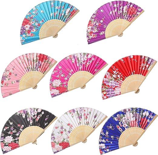 Fan for Collectors Vintage Hand Held Fan Free Shipping Decorative Fan Hand Painted Fan Blue Floral Fan Folding Fan