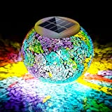 Pandawill Color Changing Mosaic Solar Light, Multi-colored1 Waterproof/Weatherproof Crystal Glass Globe Ball Light for for Ga