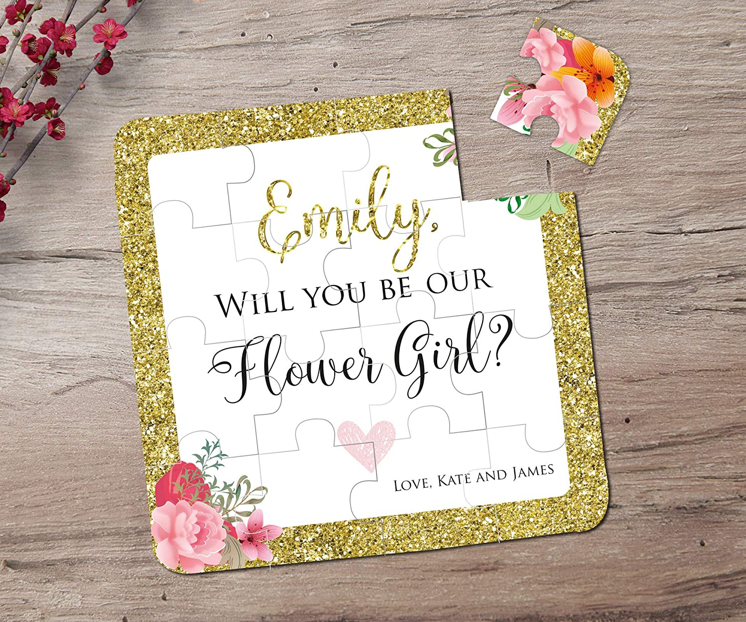 Wedding Any Colour Flower Girl Best Man Personalised Thank You Bridesmaid Card