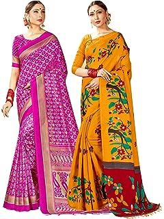 Pack of 2 Saree for Women Mysore Art Silk Printed Indian Wedding Sari Combo 2L35
