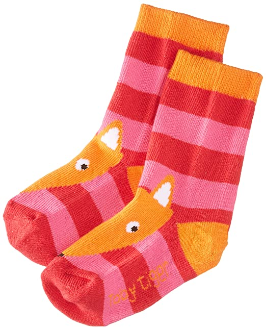 Toby Tiger Pink Fox Socks - Calcetines para niñas, color rosa, talla 3-