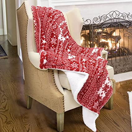 Amazon.com: Catalonia Christmas Sherpa Throw Blanket, Plush Fleece ...