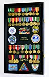 Large Military Medals, Pins, Patches, Insignia, Ribbons, Flag Display Case Cabinet