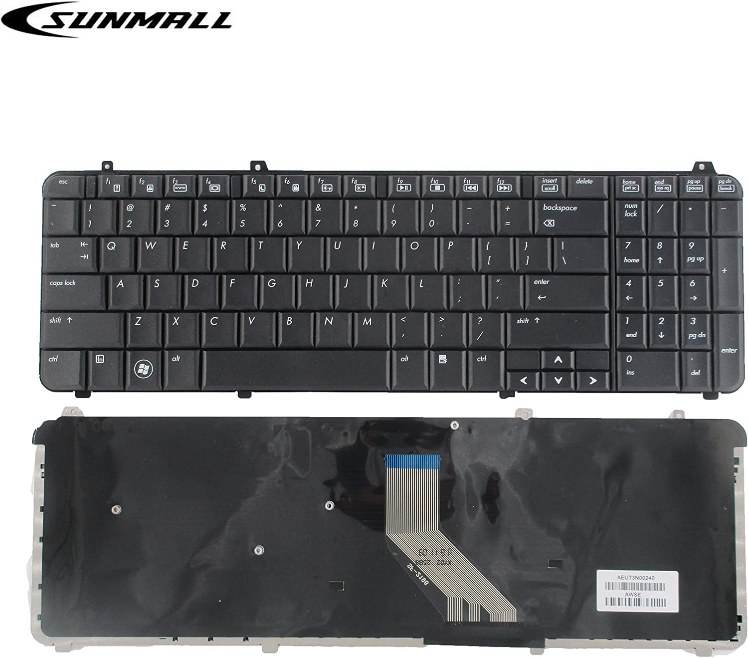 SUNMALL Keyboard Replacement Compatible with HP Pavilion dv6-1000 DV6-1100 dv6-1200 DV6-1300 DV6-2000 DV6-2100 DV6Z-1100 DV6T-1200 DV6T-2000 DV6Z-2000 Series Laptop Black US Layout