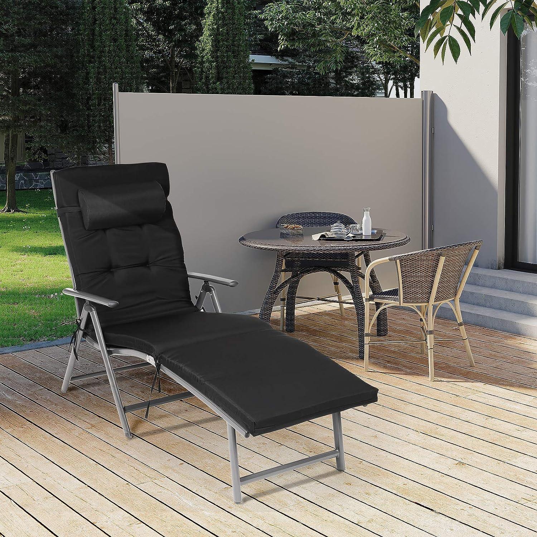 Transpirable SONGMICS/Tumbona/Plegable Cama de/Sol con/Colch/ón de 6 cm Reposacabezas/Desmontable Reclinable C/ómoda Negro/GCB24BK Aluminio/Inoxidable MAX./Capacidad de/Carga/150 Kg