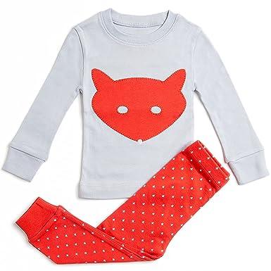 f2c1882bb0 Girls Pajamas Fox 2 Piece Pajama 100% Super Soft Cotton2Y Grey Red