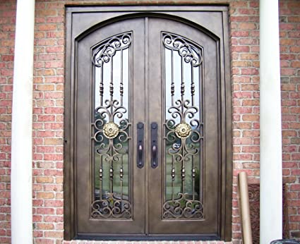 72 X 96 Custom Wrought Iron Entry Doors With Glass Amazon