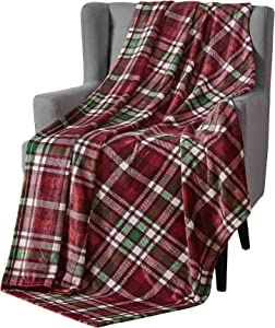 Plush Throw Blanket: Tartan Plaid Design, Burgundy Red Green Ivory…