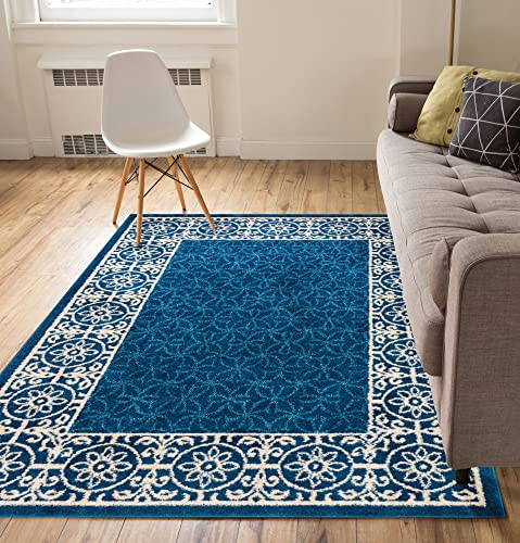 Well Woven Casa Tuscany Dark Blue Ivory Modern Classic Mediterranean Tile Border Floral 5 x 7 Area Rug Soft Shed Free Easy to Clean Stain Resistant